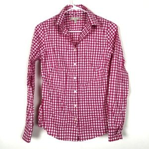 Banana Republic Pink Checkered Slim Fit Shirt